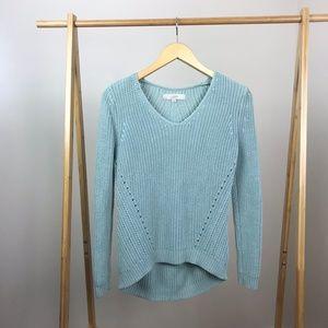 Loft • Pointelle Cotton Sweater Blue Size Small